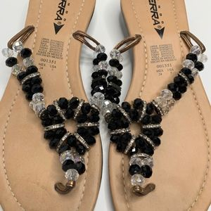 Mexican Sandals Black Beading size 6